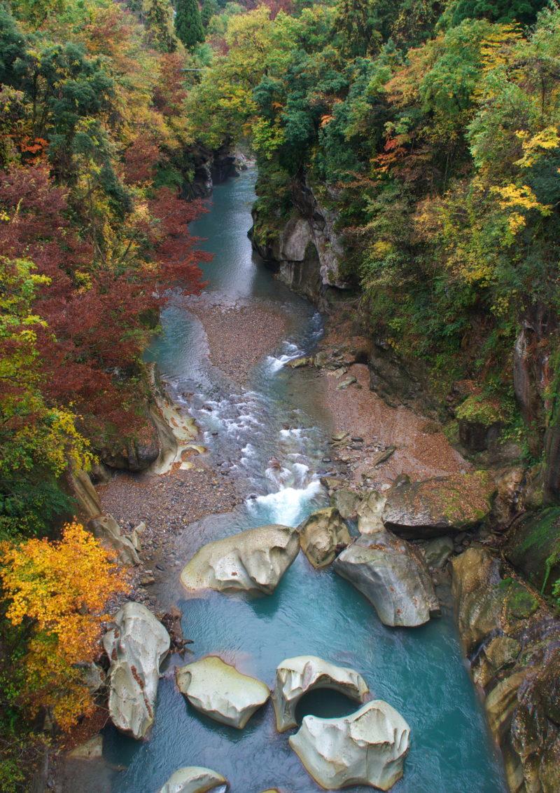 手取峡谷(不老橋)の素晴らしい紅葉の景色